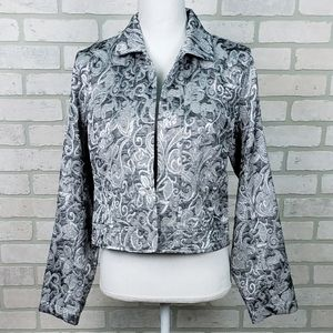 Chico's Sz 1 (SM/8) Silver/Gray Open Front Jacket